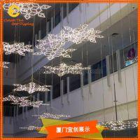 厦门宜创 商场美陈 亚克力 雪花中庭吊挂 装饰橱窗展示 道具定制