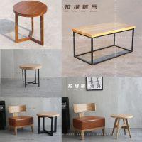 上海星巴克咖啡厅铁艺实木茶几实木咖啡桌定做