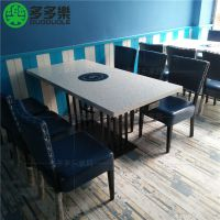 自助料理火锅桌 人造石火锅桌子 现代中式方形电磁炉火锅桌
