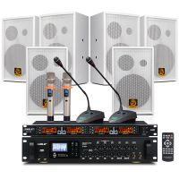 会议音响套装组合 狮乐AV8820/208(白)/SH10背景音乐蓝牙功放+无线话筒套餐