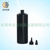 厂家供应 HDPE 1L塑料尖嘴瓶 1000ml 毫升黑尖瓶 胶水瓶 美甲专用包装瓶