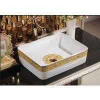 欧式彩金方形面盆一体式镀金陶瓷台面盆