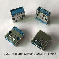 USB AF3.0 9pin DIP 90度短体L13.7唔卷边