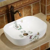 公寓阳台台面碗形中式简约陶瓷青花高温彩金清新洗手洗脸盆