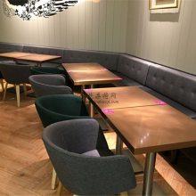 韩式料理餐厅靠墙沙发桌椅组合,广州韩式料理餐饮家具定制