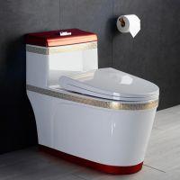 卫生间正品新款红色虹吸式陶瓷座便器马桶