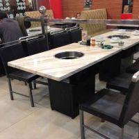 厂家直销人造大理石火锅桌餐饮家具电磁炉火锅桌椅 大理石圆餐桌