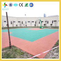 长沙室外硅PU篮球场材料批发-望城学校塑胶篮球场施工工艺