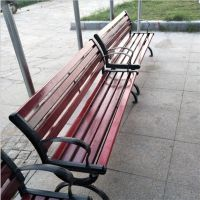 献县鑫建供应 铸铁公园椅 实木长条椅 园林广场休闲座椅 厂家批发价格合理
