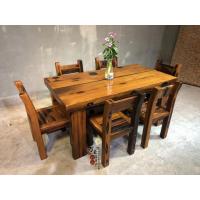 万豪船木家具现货老船木茶桌椅组合餐厅吃饭桌长方形餐桌八仙桌圆形餐桌家用两用桌