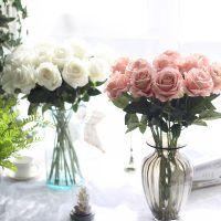 仿真花 婚庆用品绒布玫瑰花仿真植物婚假花家居装饰工艺品MW03332