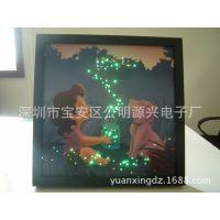 批发供应led灯音乐发光挂画创意动漫简约卧室有框光纤闪光挂画