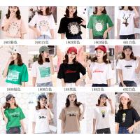 广州沙河2018便宜T恤韩版女装上衣纯棉短袖圆领印花T恤清货3元处理跑量t恤