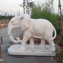 石雕大象汉白玉招财纳福看门镇宅如意石象雕塑摆件一对曲阳万洋雕刻厂家定做