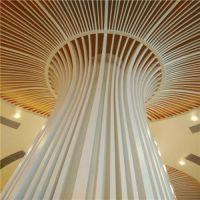 装饰工程弧形铝天花 波浪形木纹铝方通规格细节