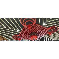 吉林东润酒店中国结鲜红色铝单板_木纹铝格栅_铝方通合作加工厂