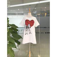 米谷儿时尚潮T 女装一手货源夏季长款T恤库存尾货走份批发
