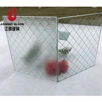 6.8mm高透菱形格 方形格夹铁丝玻璃 铁丝网玻璃 各种规格