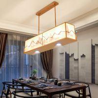 新中式吊灯 现代长方形创意铁艺客厅灯 书房卧室餐厅茶楼LED灯具