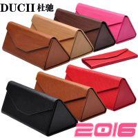 ducii杜驰手工三角折叠眼镜盒皮质木纹太阳镜盒平光镜盒2015