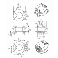 PQ2017B高频变压器骨架 立式4+2针