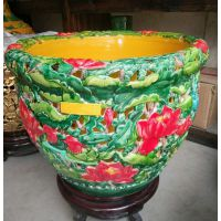 景德镇陶瓷大缸 颜色釉镂空工艺鱼缸 摆件仿古高档风水缸