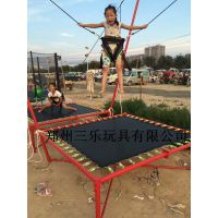 滑县红色蓝色儿童钢架蹦蹦床方形加厚钢管蹦极游乐设备厂家跳跳床