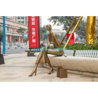 铸铜江南淑女雕像玻璃钢时尚购物抽象人雕塑拎包逛街人物铜塑像步行街广场摆件