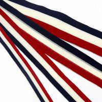厂家直销 2.5cm宽三色条纹织带 彩色涤纶布带 红白蓝海军风彩带 量大优惠