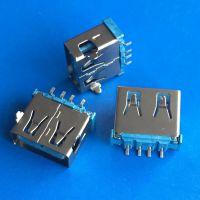 A母正反插座 AF-4P 板上前插后贴DIP+SMT 直边 蓝胶铁壳双面USB插座