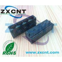 RJ45四口全塑带灯网口插座,卧式水晶头8P8C接口ZXCNT网口模块