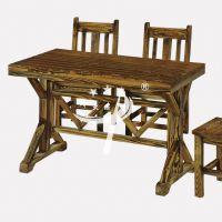 木米架条桌 碳烧木大排档餐桌椅组合 古典中式松木加固长形夜市餐桌