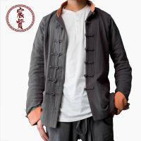 原创中国风男士秋冬加厚棉麻中式唐装中长款外套男长袖上衣居士服