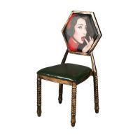 餐厅木制餐椅贴木纹仿实木餐椅定做工业风金属餐椅厂家供应