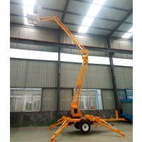 定制龙铸品牌 14米拖车折臂式升降平台 电动液压升降高空作业车