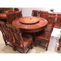 怡棠苑缅甸花梨木餐桌红木餐桌,象头圆台