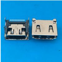 四脚HDMI 19P母座插板DIP+SMT端子贴片铜壳镀镍 PCB-创粤