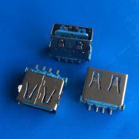 正反插USB母座 4PIN-180度贴板SMT 板上前插后贴DIP+SMT 直边蓝胶LCP铁壳