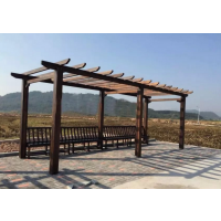 广州厂家定做防腐木文化长廊,旅游景区休闲实木走廊连廊