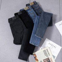 河北沧州便宜女士牛仔裤 韩版高腰紧身纯棉弹力显瘦女士黑色铅笔裤 M
