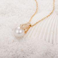 925纯银项链 欧美贝壳珠吊坠配件 正圆8-10mm珍珠饰品加工定制