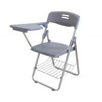 双鸭市餐厅桌椅,带写字板带书网折叠简约塑料成年培训会议洽谈椅多色可选