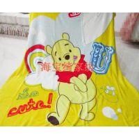 黄色维尼熊Winnie熊珊瑚绒法兰绒毛毯大绒毯夏季空调毯150