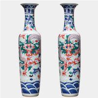 景德镇豆青釉陶瓷大花瓶 1米陶瓷落地大花瓶 公司年会周年庆留念礼品