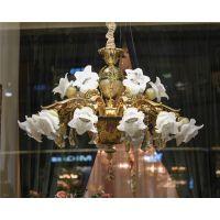 欧式吊灯复古美式客厅玻璃灯罩吊灯复式楼别墅餐厅锌合金灯具