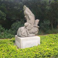 现货供应晚霞红石雕喷水鱼大理石鲤鱼 户外庭院别墅雕塑摆件