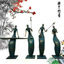 音乐主题小品雕塑玻璃钢吹萨克斯人物铸铜雕像摆设大提琴演奏者抽象摆件西洋乐团树脂彩绘人像现货