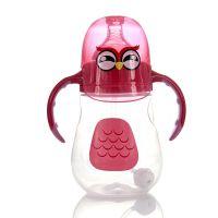 苹果熊婴幼儿企鹅奶瓶 宽口卡通小鸡奶瓶 防胀气PP奶瓶批发 240ml