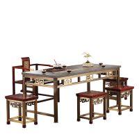 禅云茶桌纯铜家具新中式乌金石电实木茶海厂软包嵌铜条