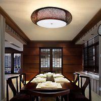 新中式竹藤灯吊灯 圆形现代卧室客厅吸顶灯室内灯具过道藤编灯